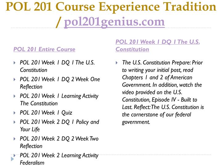 Pol 201 course experience tradition pol201genius com1