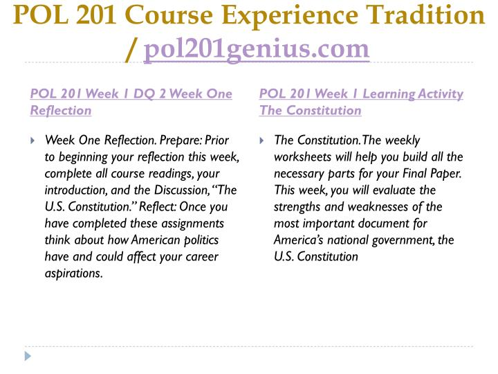 Pol 201 course experience tradition pol201genius com2