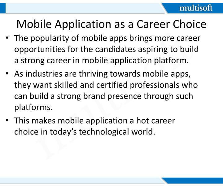 Mobile Application as a Career Choice