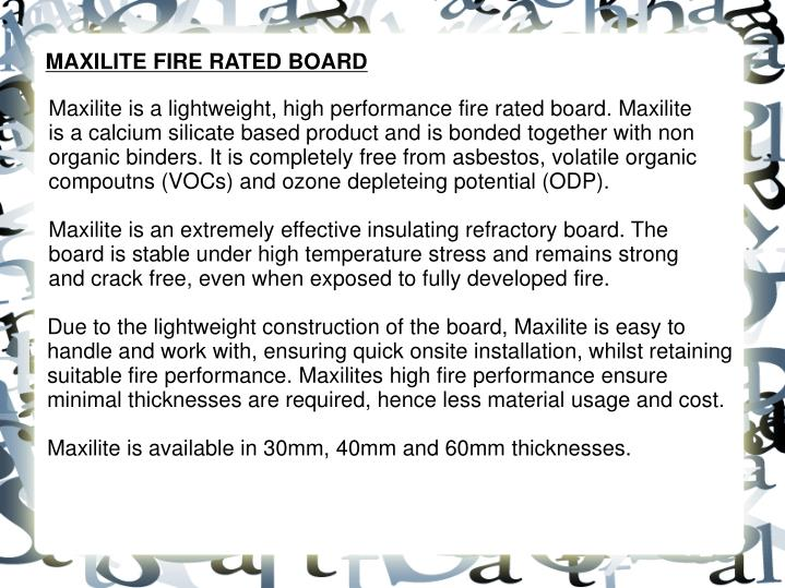 MAXILITE FIRE RATED BOARD