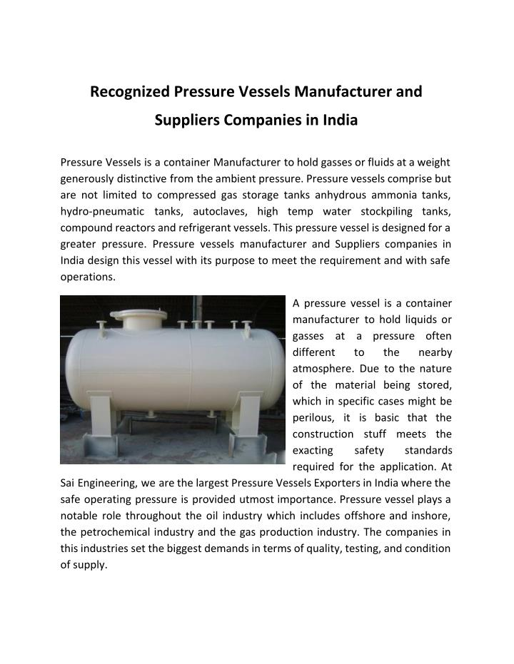 Recognized Pressure Vessels Manufacturer and