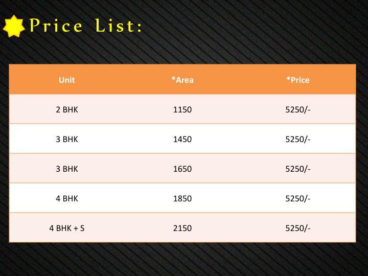 Price List:
