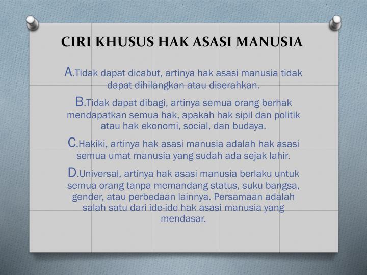CIRI KHUSUS HAK ASASI MANUSIA
