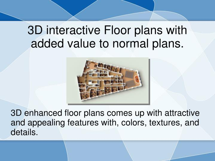 3D enhanced floor plans comes up with attractive and appealing features with, colors, textures, and details.