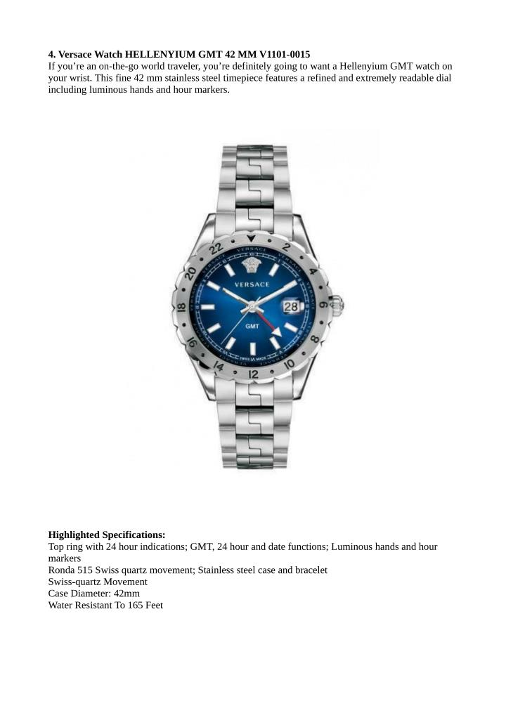 4. Versace Watch HELLENYIUM GMT 42 MM V1101-0015