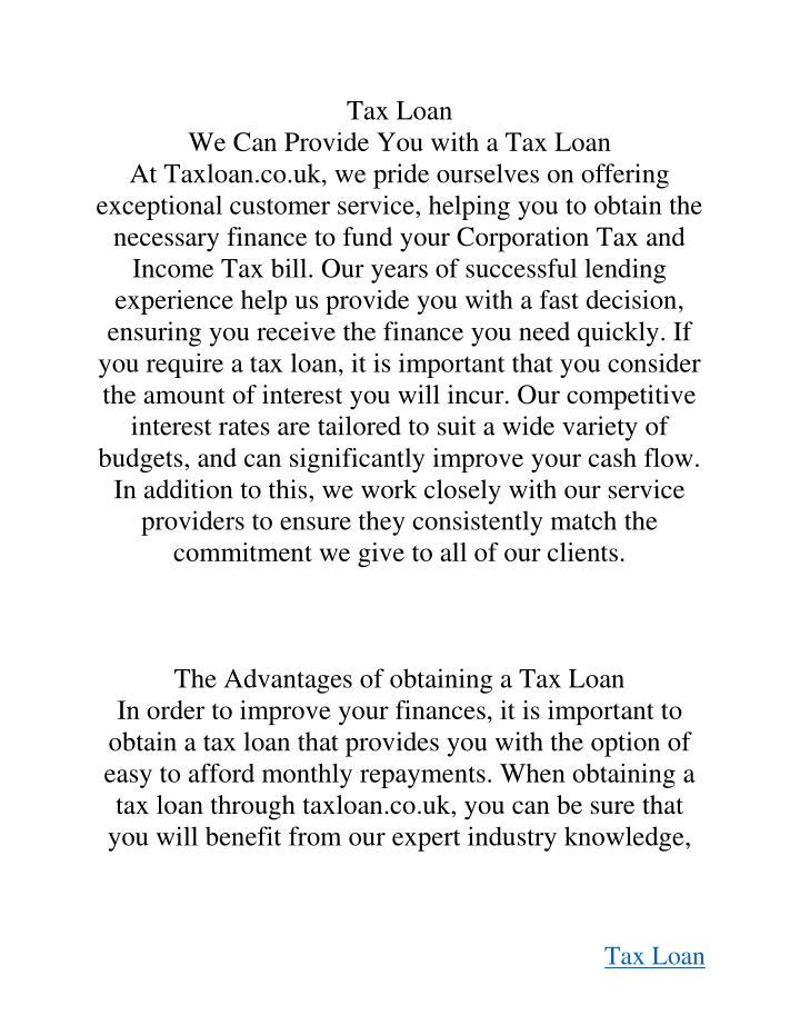Tax Loan