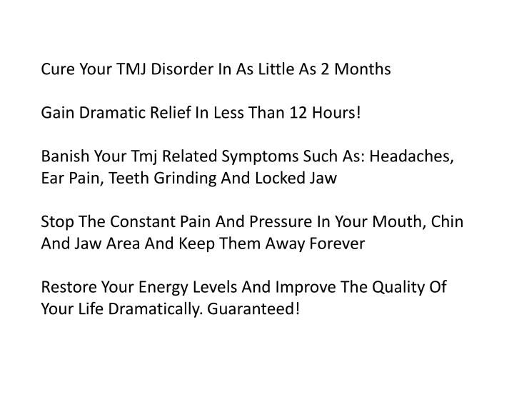 Cure Your TMJ Disorder In As Little As 2 Months