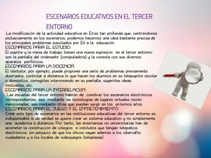 ESCENARIOS EDUCATIVOS EN EL TERCER
