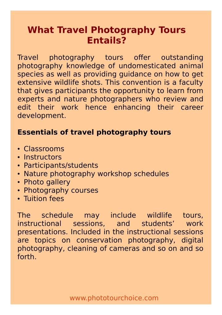 What Travel Photography Tours