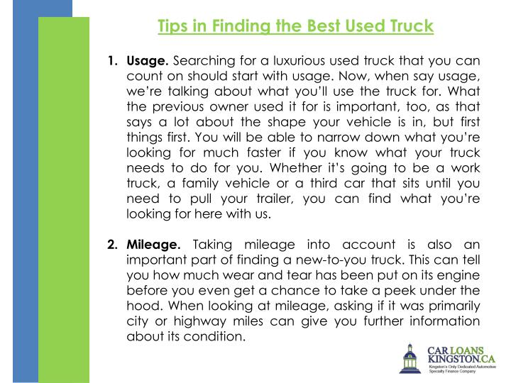 Tips in Finding the Best Used Truck