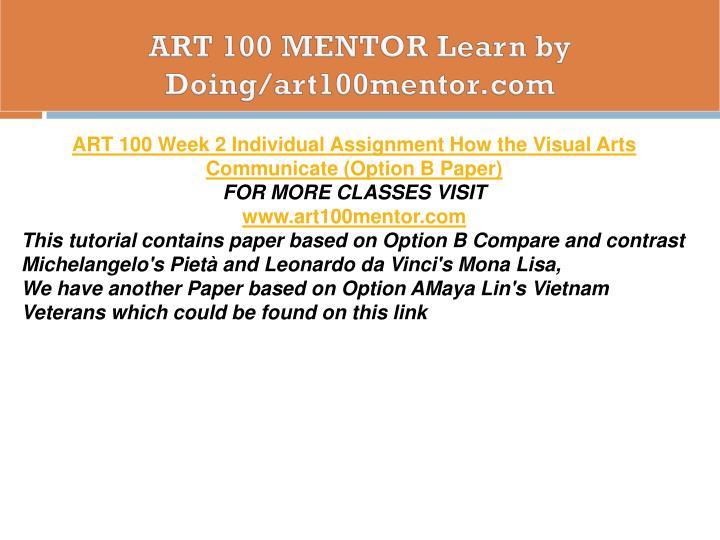 ART 100 MENTOR Learn by Doing/art100mentor.com