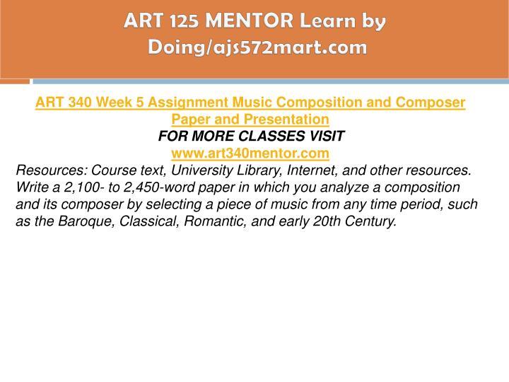 ART 125 MENTOR Learn by