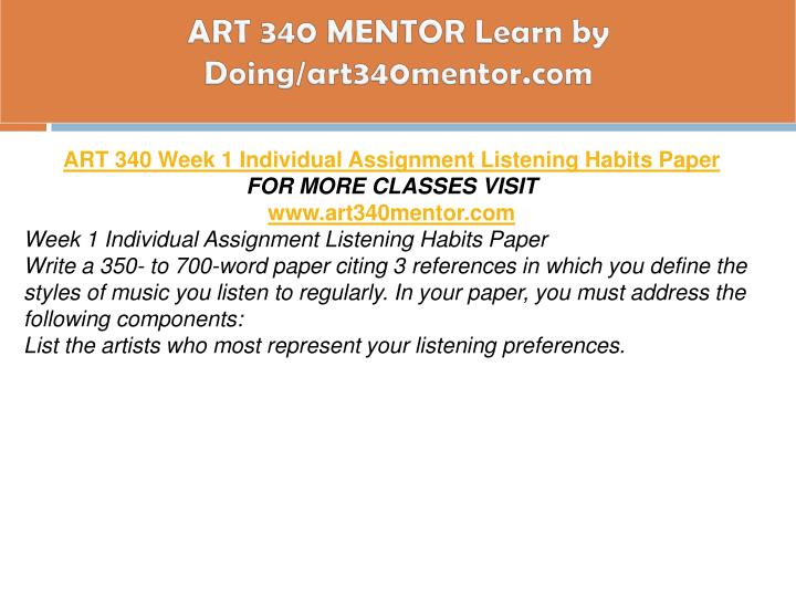 ART 340 MENTOR Learn by Doing/art340mentor.com