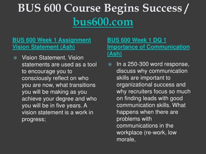 Bus 600 course begins success bus600 com2