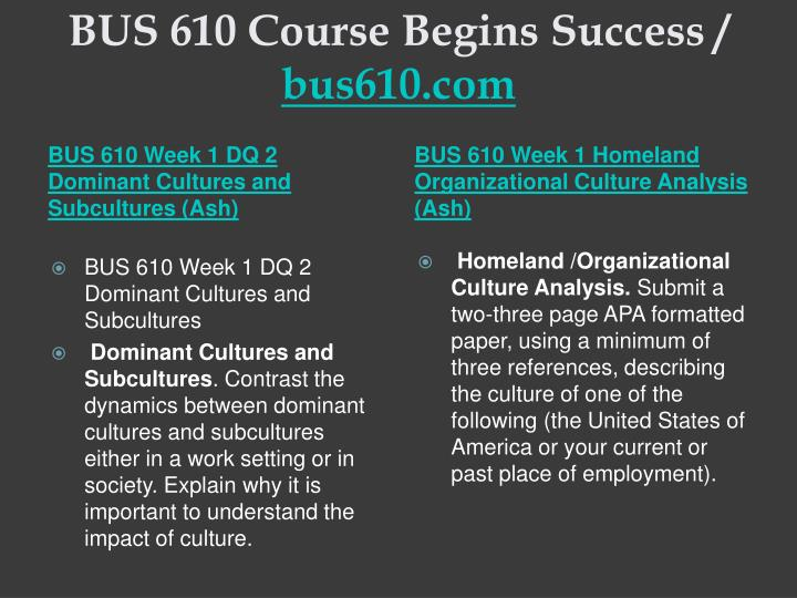 BUS 610 Course Begins Success /