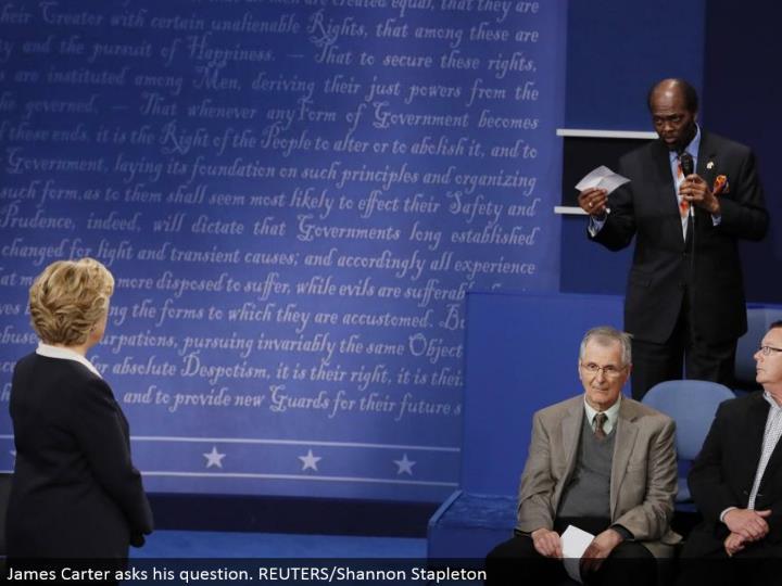 James Carter poses his question. REUTERS/Shannon Stapleton