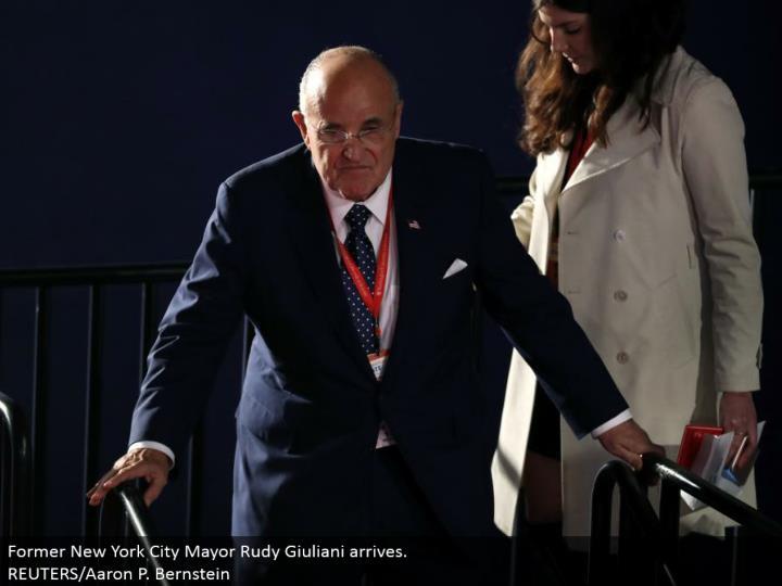 Former New York City Mayor Rudy Giuliani arrives.  REUTERS/Aaron P. Bernstein