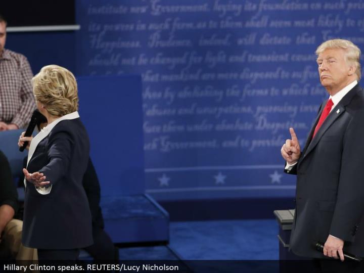 Hillary Clinton talks. REUTERS/Lucy Nicholson