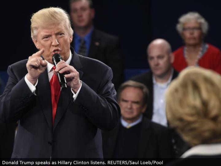Donald Trump talks as Hillary Clinton tunes in. REUTERS/Saul Loeb/Pool