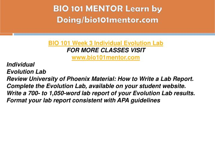 BIO 101 MENTOR Learn by Doing/bio101mentor.com