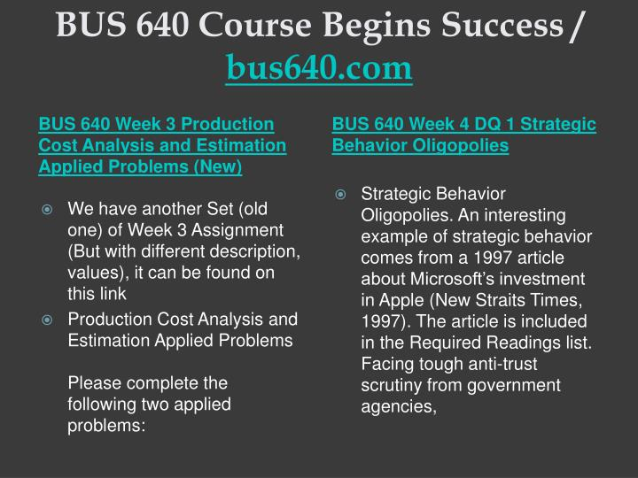 BUS 640 Course Begins Success /