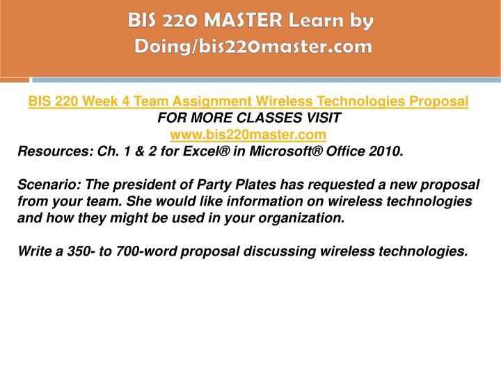BIS 220 MASTER Learn by