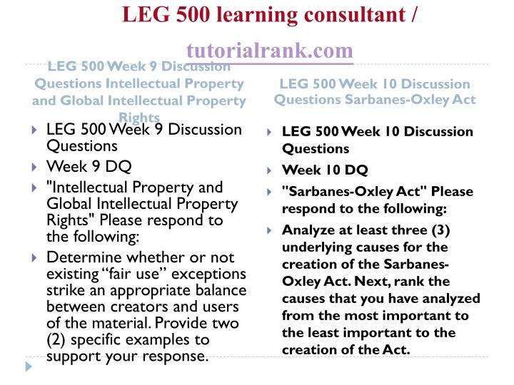 LEG 500 learning consultant /