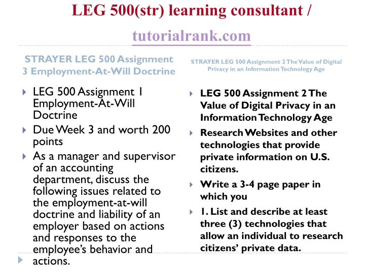 LEG 500(str) learning consultant /