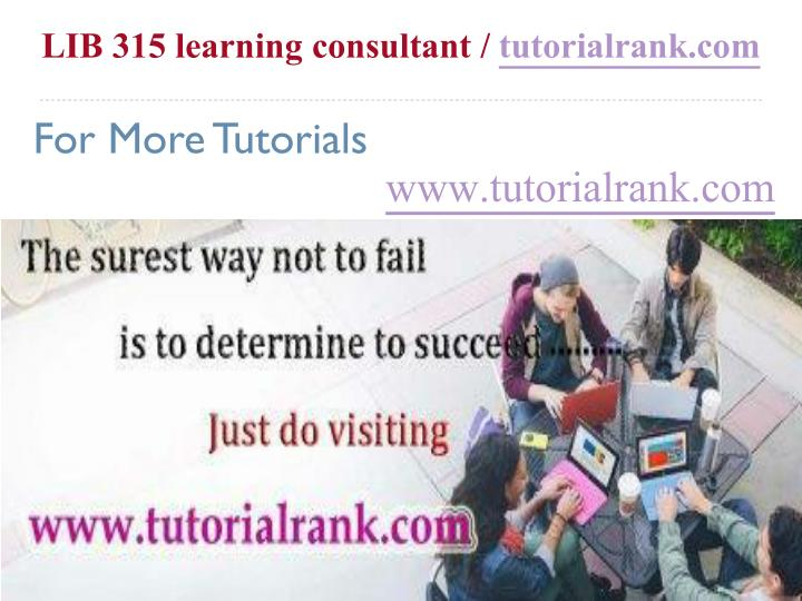 LIB 315 learning consultant /