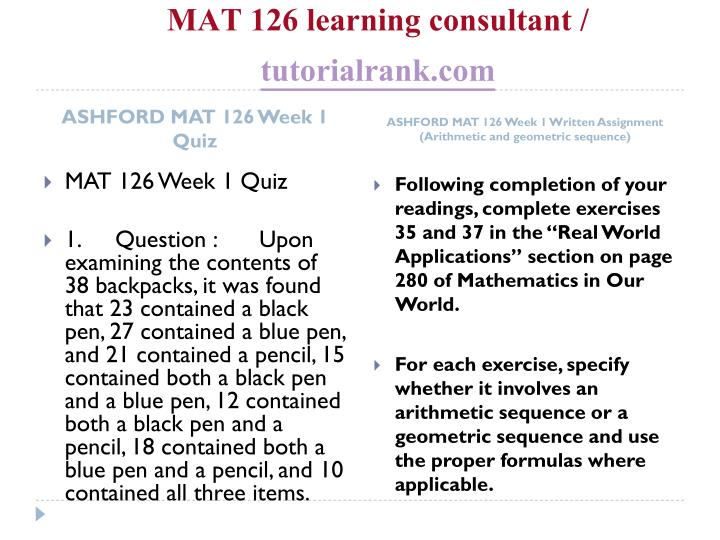 MAT 126 learning consultant /