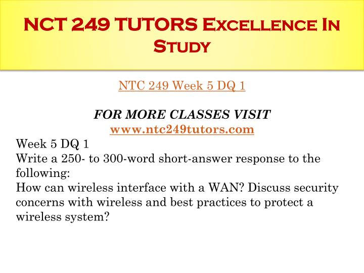 NCT 249 TUTORS Excellence In Study