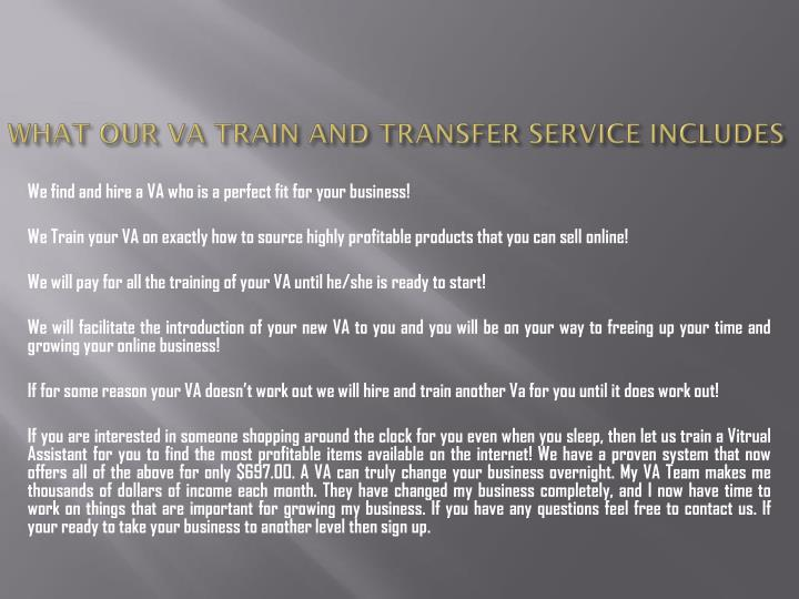 What our va train and transfer service includes