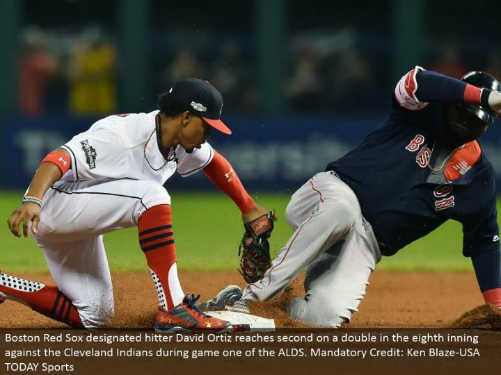 Boston Red Sox assigned hitter David Ortiz achieves second on a twofold in the eighth inning against the Cleveland Indians amid diversion one of the ALDS. Required Credit: Ken Blaze-USA TODAY Sports