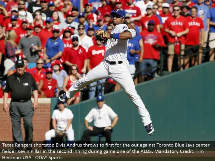 Texas Rangers shortstop Elvis Andrus tosses to first for the out against Toronto Blue Jays focus defender Kevin Pillar in the second inning amid diversion one of the ALDS. Obligatory Credit: Tim Heitman-USA TODAY Sports