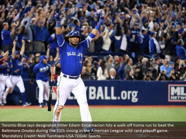 Toronto Blue Jays assigned hitter Edwin Encarnacion hits a stroll off grand slam to beat the Baltimo...
