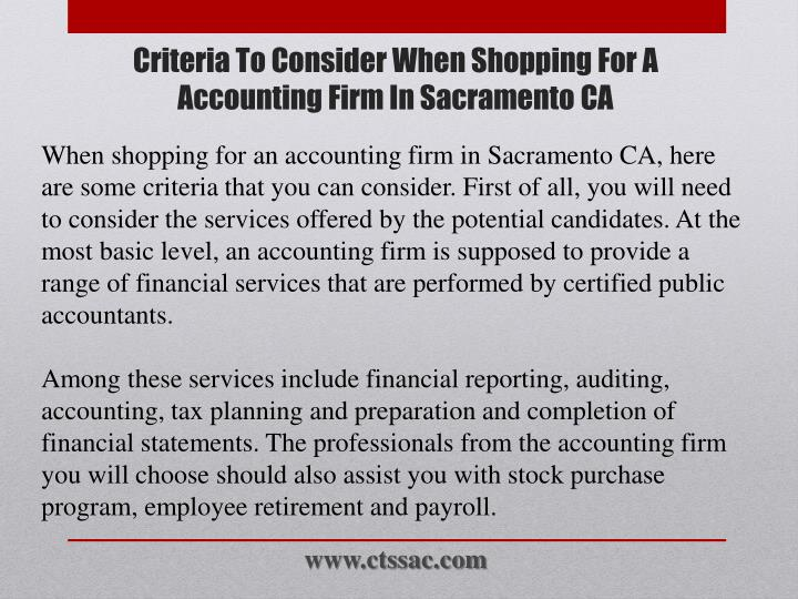 Criteria to consider when shopping for a accounting firm in sacramento ca2