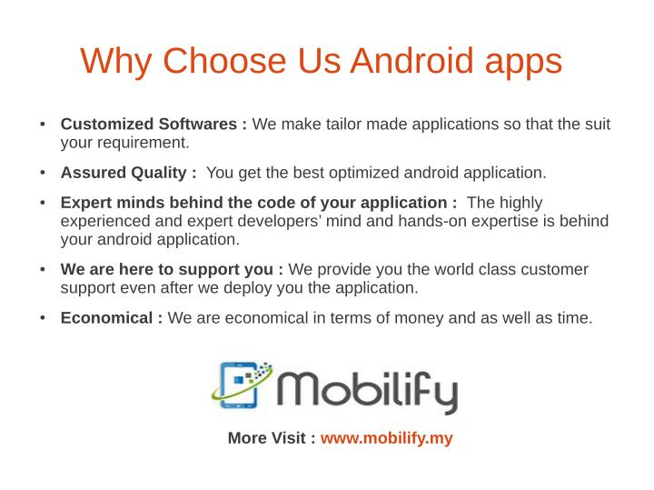 Why Choose Us Android apps