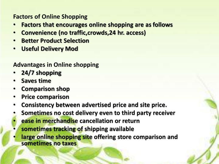 Factors of Online Shopping