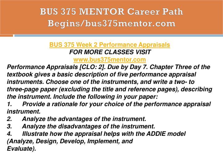 BUS 375 MENTOR Career Path Begins/bus375mentor.com