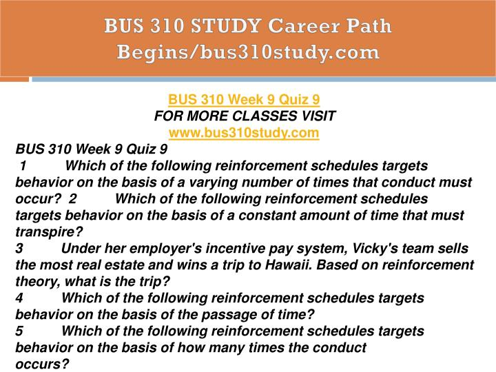 BUS 310 STUDY Career Path Begins/bus310study.com