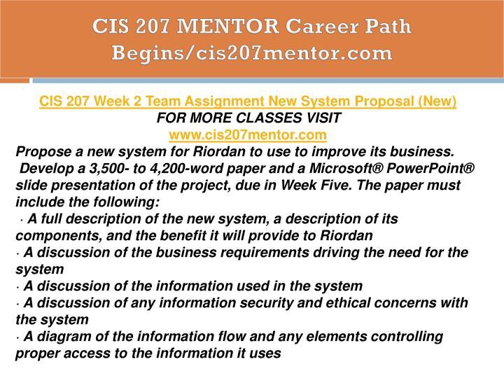 CIS 207 MENTOR Career Path Begins/cis207mentor.com