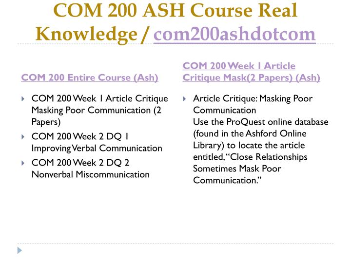 Com 200 ash course real knowledge com200ashdotcom1