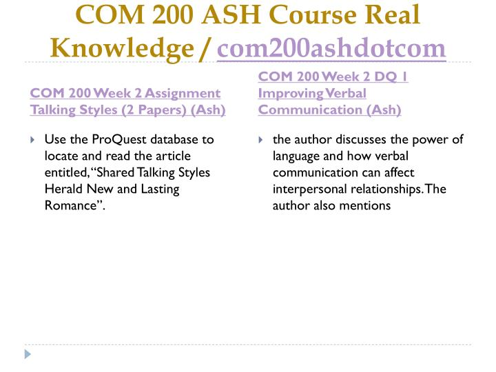 Com 200 ash course real knowledge com200ashdotcom2