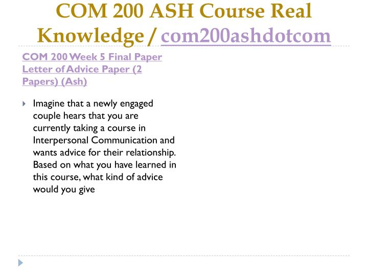COM 200 ASH Course Real Knowledge /