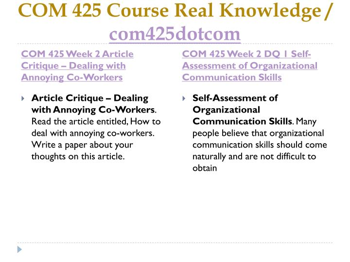 COM 425 Course Real Knowledge /