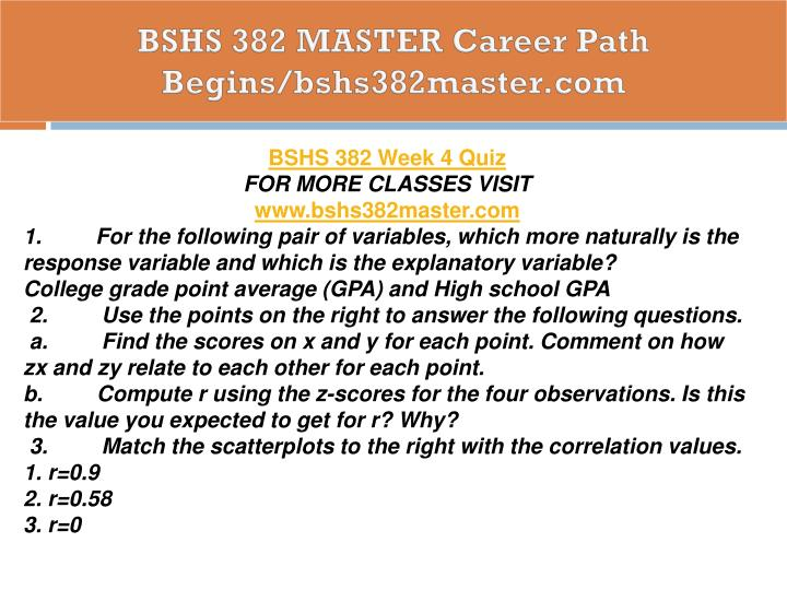 BSHS 382 MASTER Career Path Begins/bshs382master.com