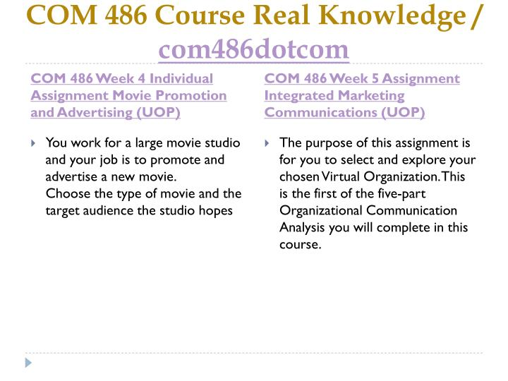COM 486 Course Real Knowledge /