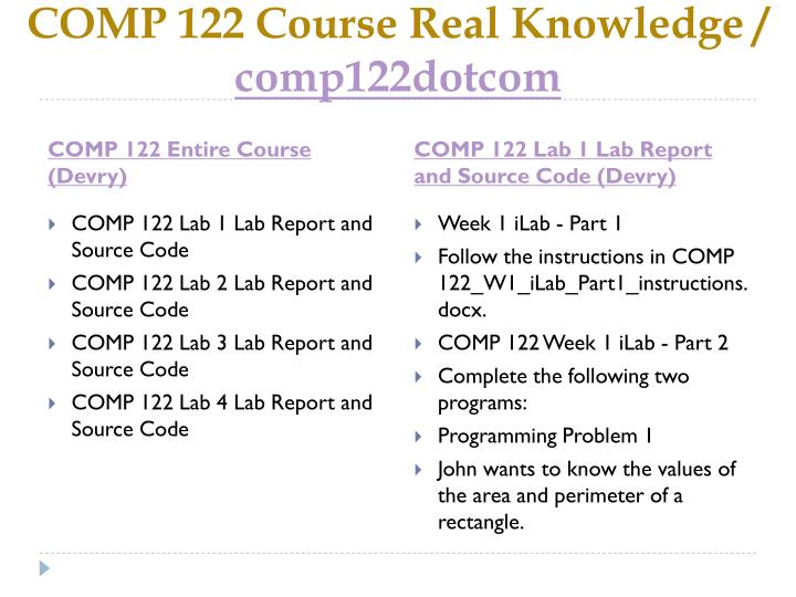 Comp 122 course real knowledge comp122dotcom1