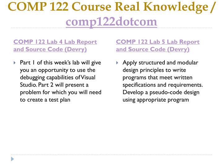COMP 122 Course Real Knowledge /