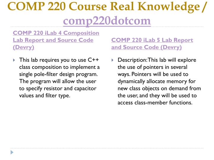 COMP 220 Course Real Knowledge /